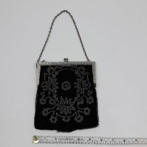 Vintage Black and Silver Bead Evening Bag Purse